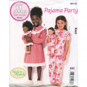"Pajama Party Girls' and 18"" Doll Ruffled, Notch-Neck Top, Dress and Pants Pattern"