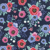 My Unicorn - Floral Navy Yardage