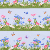 Meadow Meow - Grass Border Stripe Blue Yardage