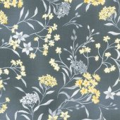 Limoncello - Garden Charcoal Gray Pearlized Yardage