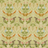 Voysey - Birds & Squirrels 1909 Parchment Yardage