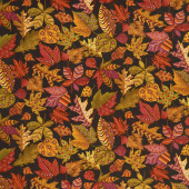 Autumn is Calling - Patterned Leaves Black Yardage
