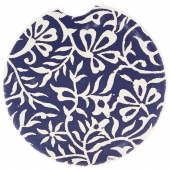 Indigo Patterns Car Coaster - Floral Vines
