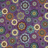 Grand Illusion - Tossed Medallion Purple Metallic Yardage