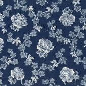 Abigail Blue - Trellis Rose Navy Yardage