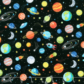 Outer Space - Planets Black Yardage