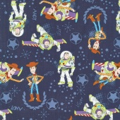 Toy Story - Buzz & Woody Dark Blue Yardage
