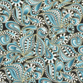 Cat-I-Tude Christmas - Paisley Swirl Teal Metallic Yardage