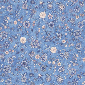 Calista - Flowers Cobalt Pearlized Yardage