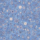 Calista - Flowers Cobalt Pearlized Yardage