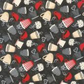 Coffee Time - Tossed Coffee Cups Black Yardage