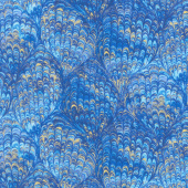 Regency - Majestic Marbled Feathers Blue Metallic Yardage