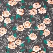 Sugar Pie - Wildest Rose Charcoal Yardage