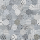Fade In - Tiny Hexies Grey Yardage