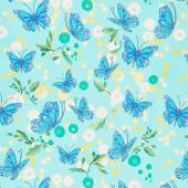 Cottage Bleu - Butterflies Dewdrop Yardage