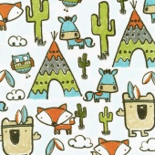 "Cuddle Prints - Pow Wow Teal 60"" Minky Yardage"