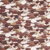 Chocolicious - Cupcake Dreams Chocolate Digitally Printed Yardage