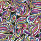 Cat - i - tude - Paisley Style Black Multi Yardage