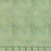 Festive Chickadee - Golden Pine Leaf Metallic Yardage