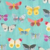Wonder - Newspaper Butterflies Aqua Yardage