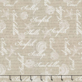 Coastal Wishes - Word Allover Brown Yardage