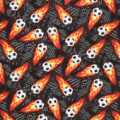 Sports - Flaming Soccer Balls Black Yardage