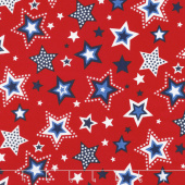 Red, White and Starry Blue - Large Stars Red Yardage