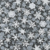 Winter's Grandeur 6 - Winter Small Flakes Ebony Metallic Yardage