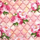 Peony Passion - Floral Lattice Pink Yardage
