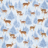 Winter Hike - Winter Reindeers Blue Yardage