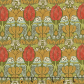 Voysey - The Owl 1897 Olive Yardage