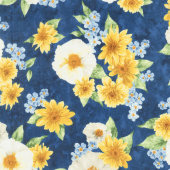 Gardenside Path - Large Flowers Navy Yardage