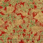Holiday Flourish 10 - Holiday Holly Sprigs Crimson Metallic Yardage