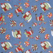 Cozy Critters - Animals Allover Blue Yardage