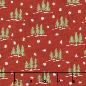 Holiday Lodge - Trees Berry Red Yardage