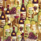From the Chateau - Wine Bottles & Glasses Multi Yardage