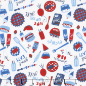 Patriotic Parade - Tossed Picnic Foods White Yardage
