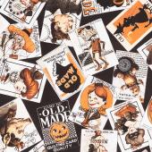 Old Made - Scattered Cards Black Yardage