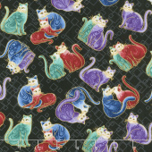 Cat-i-tude 2 - Mini Squares Cats Black Multi Metallic Yardage