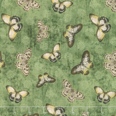 Chantrell - Butterflies Allover Green Yardage