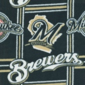 MLB Fleece - Milwaukee Brewers Navy/Gold Yardage