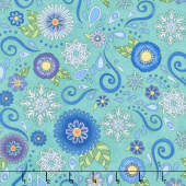 Arctic Wonderland - Flower and Snowflake Toss Teal Yardage