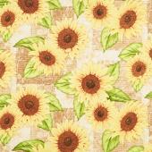 Jardin Du Soleil - Sunflower Patchwork Tan Yardage