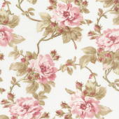 Burgundy & Blush - Trailing Roses Ecru Yardage
