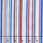 All Star Hockey - Barcode Stripe White Multi Yardage