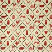 Farm to Table - Animal Grid Cream Yardage