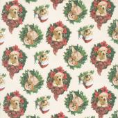 Santa's Helpers - Puppies Wreaths Cream Digitally Printed Yardage