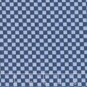 Roly-Poly Snowmen - Checkerboard Navy Blue Yardage