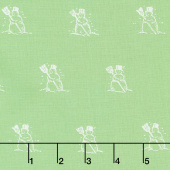 Snow Sweet - Small Snowmen Green Yardage