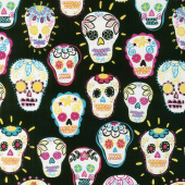 Day of the Dead - Sugar Skulls Black Metallic Yardage